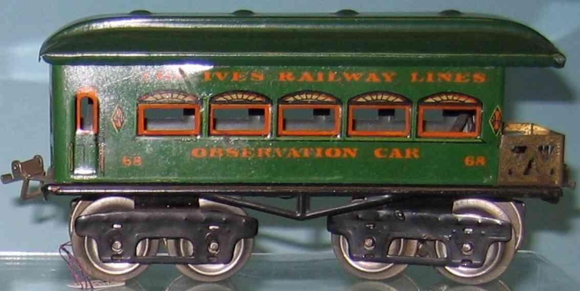 ives 68 railway toy passenger car green red rivets gauge 0