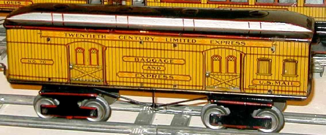 ives 70 railway toy baggage express car yellow red black gauge 1