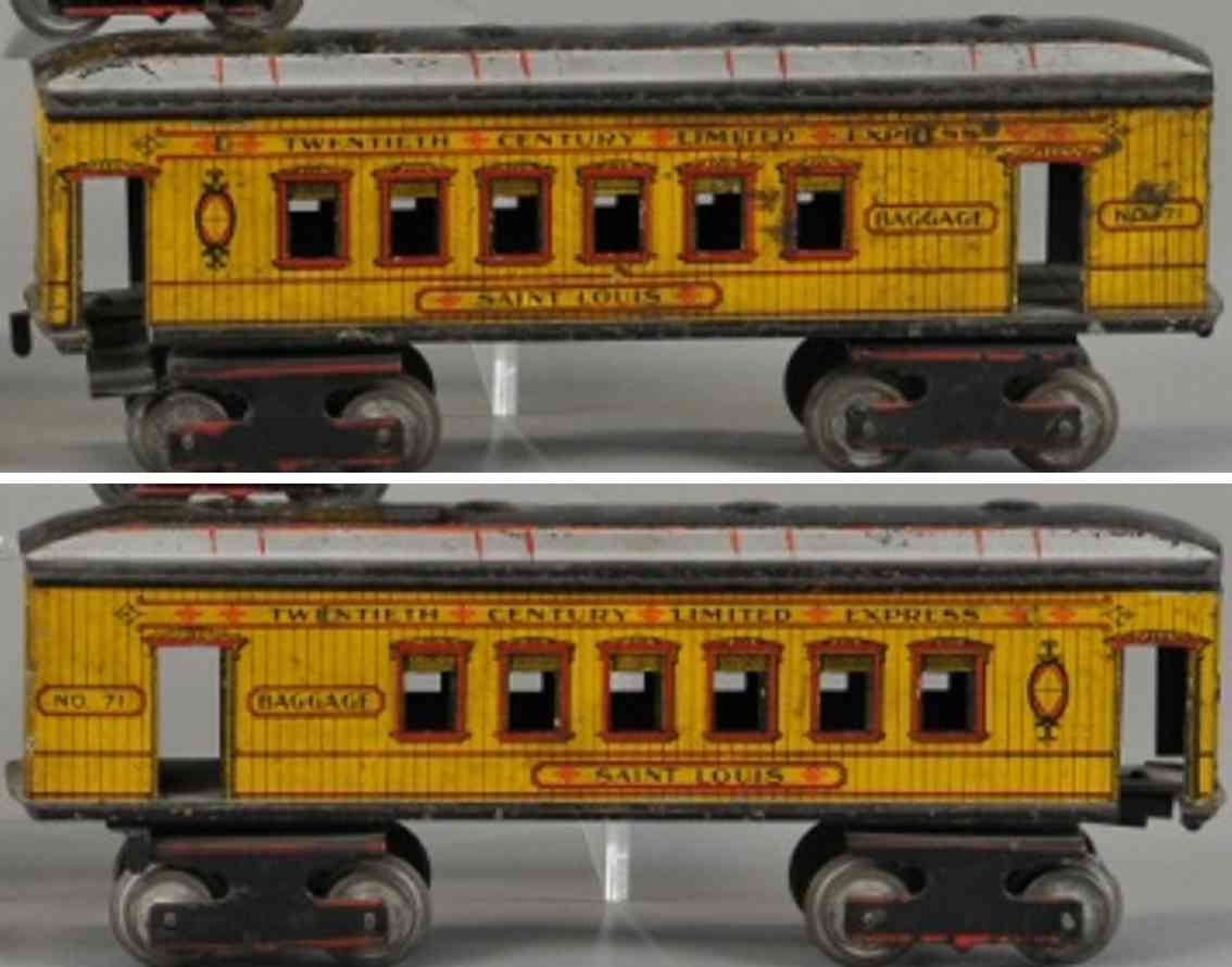 ives 71 railway toysaint louis combine car yellow red black gauge 1