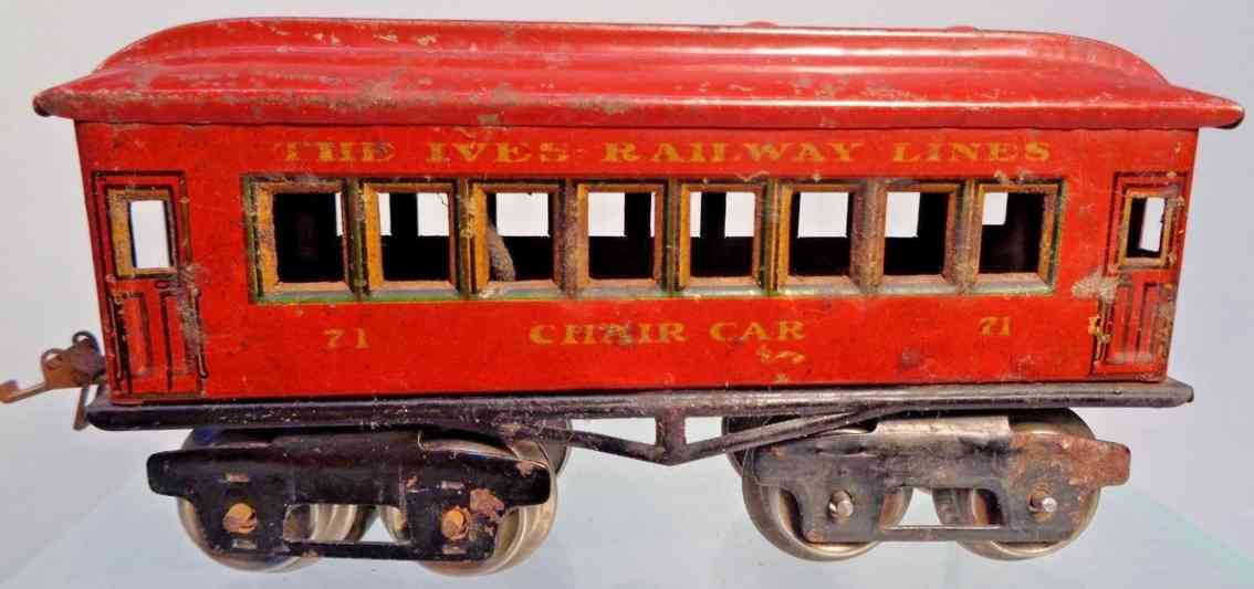 ives 71 1923 chair railway toy passenger car red gauge 0