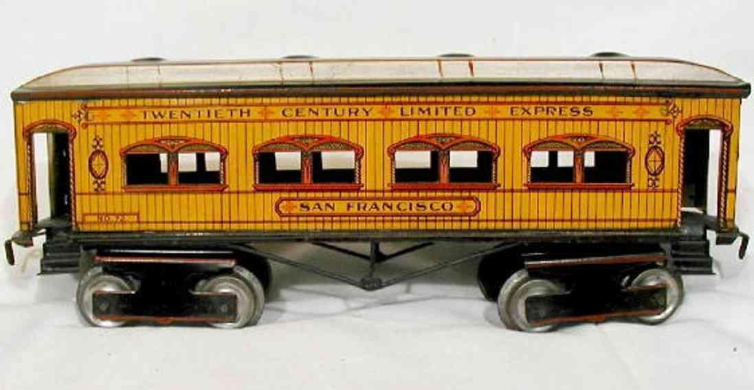 ives 72 railway toy passenger car san francisco gauge 1