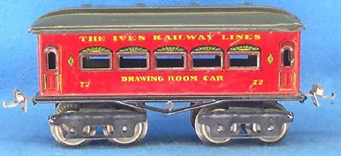 ives 72 railway toy passenger car red maroon drawing room gauge 0