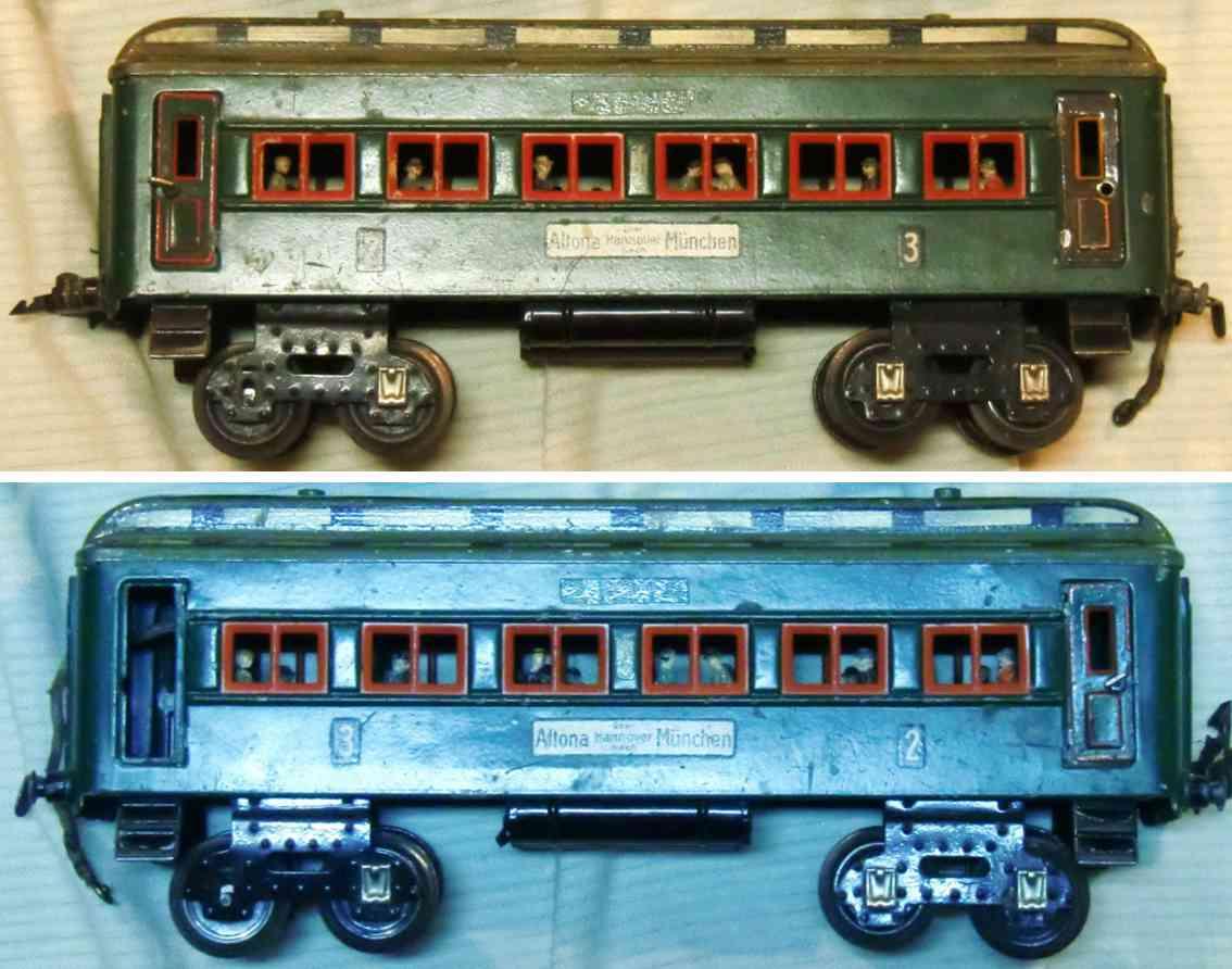 kraus-fandor 1214 altona eisenbahn personenwagen beleuchtet green spur 1