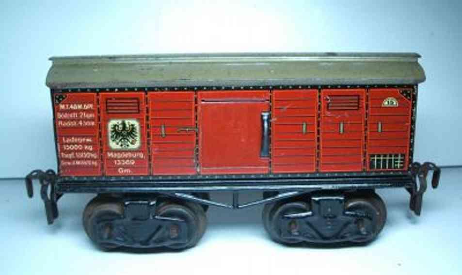 kraus-fandor spielzeug eisenbahn personenwagen gepäckwagen; 4-achsig; braun, 2 schiebetüren zum öffnen, auf