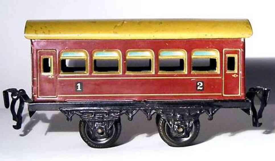 kraus-fandor spielzeug eisenbahn personenwagen personenwagen 1. und 2. klasse; 2-achsig; rotbraun lackiert,