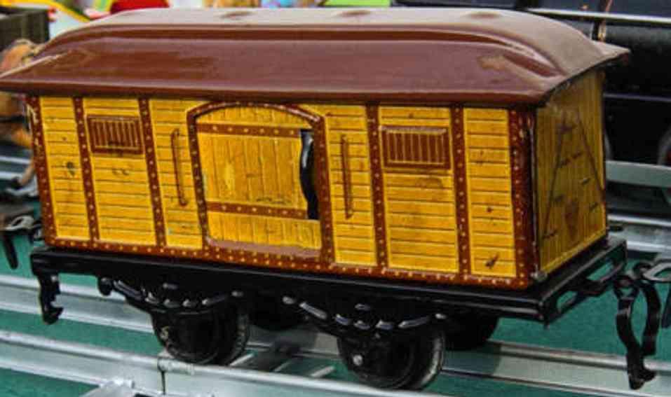 kraus-fandor spielzeug eisenbahn personenwagen gepäckwagen; 2-achsig; hellbraun lithografiert, 2 schiebetür