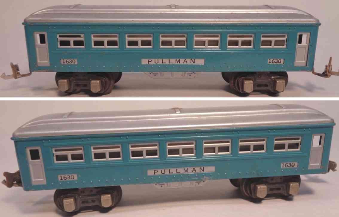 lionel 1630 railway toy pullman car blue aluminum silver gauge 0