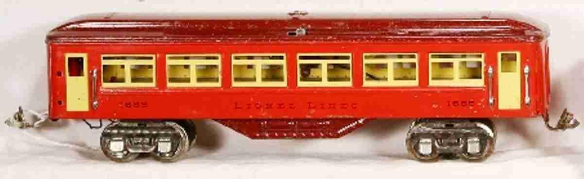 lionel 1685 spielzeug eisenbahn personenwagen rot kastanienbraun vernickelt spur 0