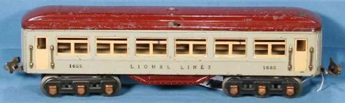 lionel 1685/I spielzeug eisenbahn personenwagen pullmann in grau mit kastanienbraunem dach und untergestellt