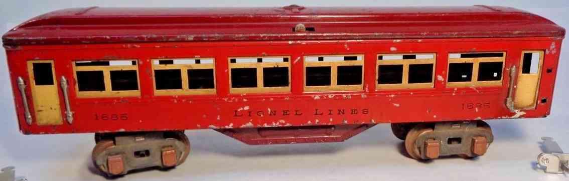 lionel 1685 spielzeug eisenbahn personenwagen rot kastanienbraun kuperfarben spur 0