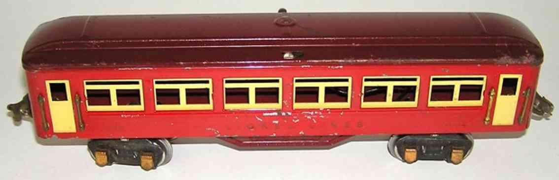 lionel 1685-3 spielzeug eisenbahn personenwagen personenwagen; 4-achsig; mit rotem gehäuse, kastanienbraunem