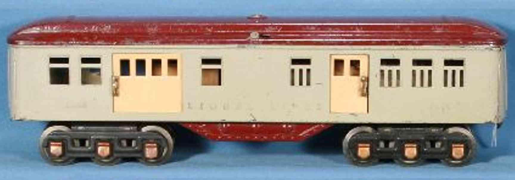lionel 1686/I spielzeug eisenbahn personenwagen gepäckwagen in grau mit kastanienbraunem dach und untergeste