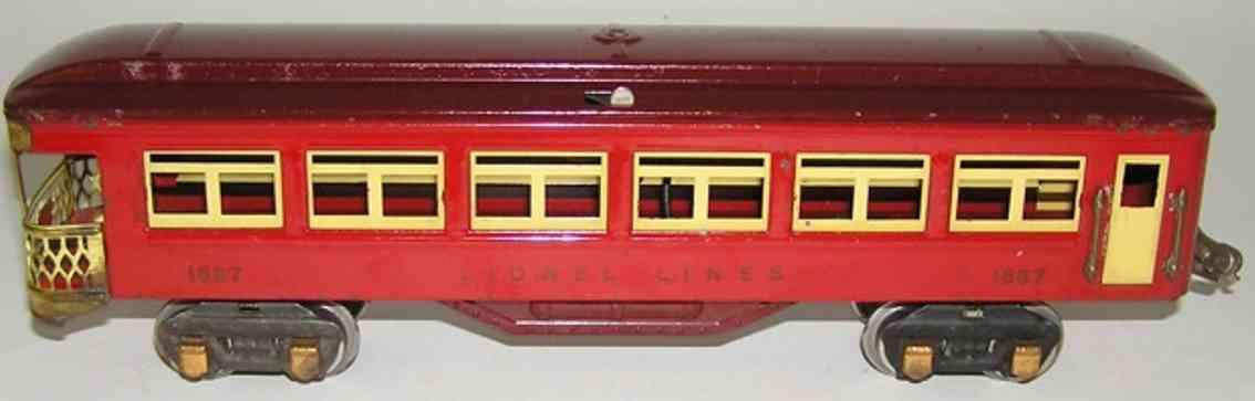 lionel 1687-3 spielzeug eisenbahn personenwagen personenwagen; 4-achsig; mit rotem gehäuse, kastanienbraunem