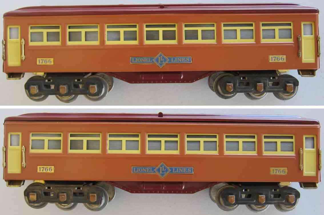 lionel 1766 spielzeug eisenbahn schlafwagen teerrakottafarben und rotbraun standard gauge