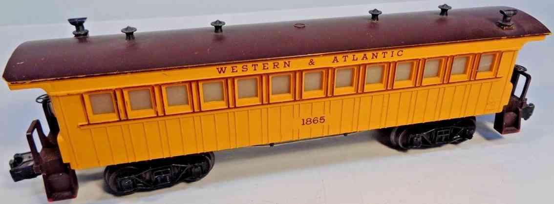 lionel 1865 spielzeug eisenbahn western atlantic personenwagen gelb spur 027