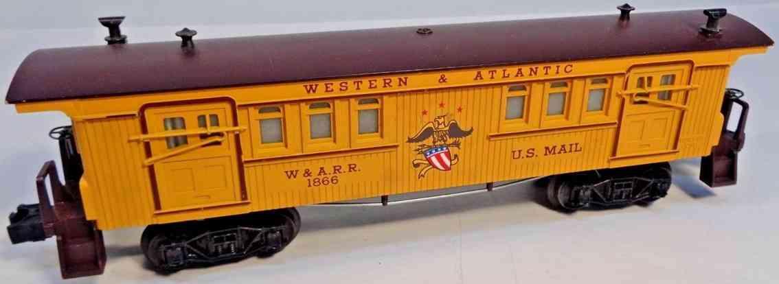 lionel 1866 spielzeug eisenbahn gepaeckwagen western & atlantic gelb braun spur 027