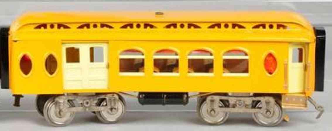 lionel 19 kombinationswagen gepaeckwagen salonwagen gelb orange creme standard gauge