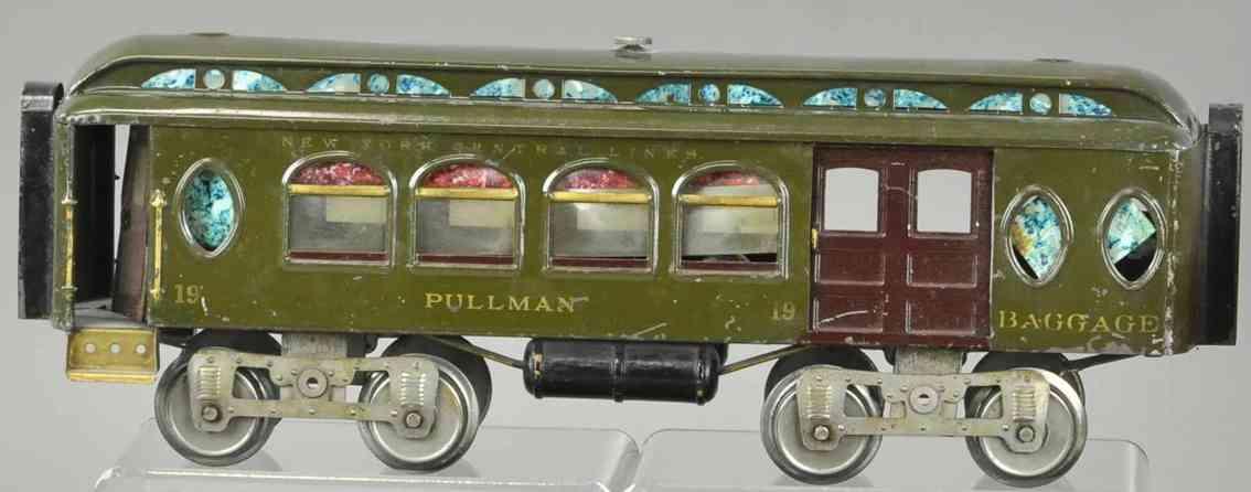 lionel 19 kombinationswagen gepaeckwagen salonwagen olive braun standard gauge