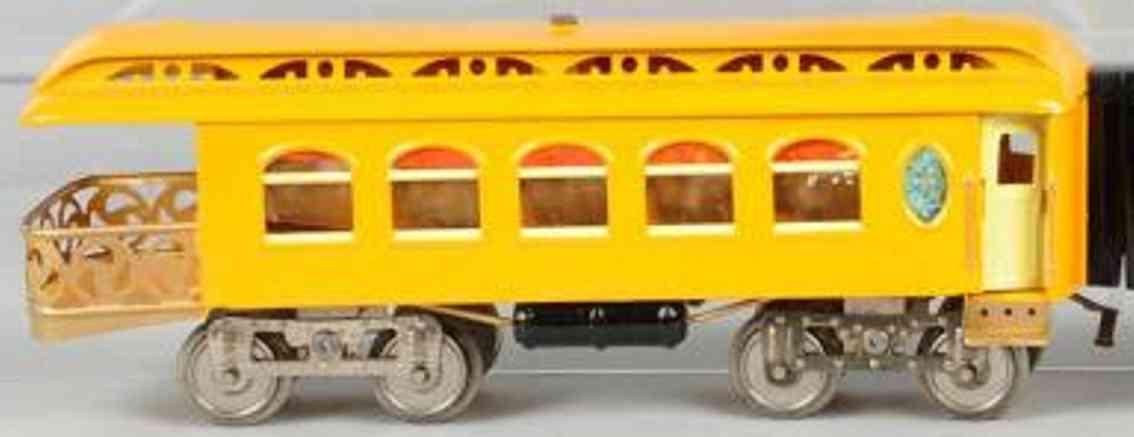 lionel 190 spielzeug eisenbahn aussichtswagen gelb-orange standard gauge