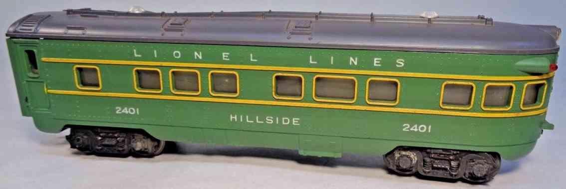 lionel 2401 spielzeug eisenbahn personenwagen gruen hillside spur 0