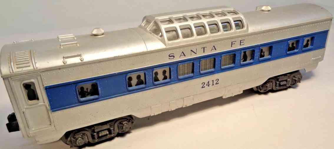 lionel 2412 personenwagen santa fe aussichtskuppel silber blau spur 0