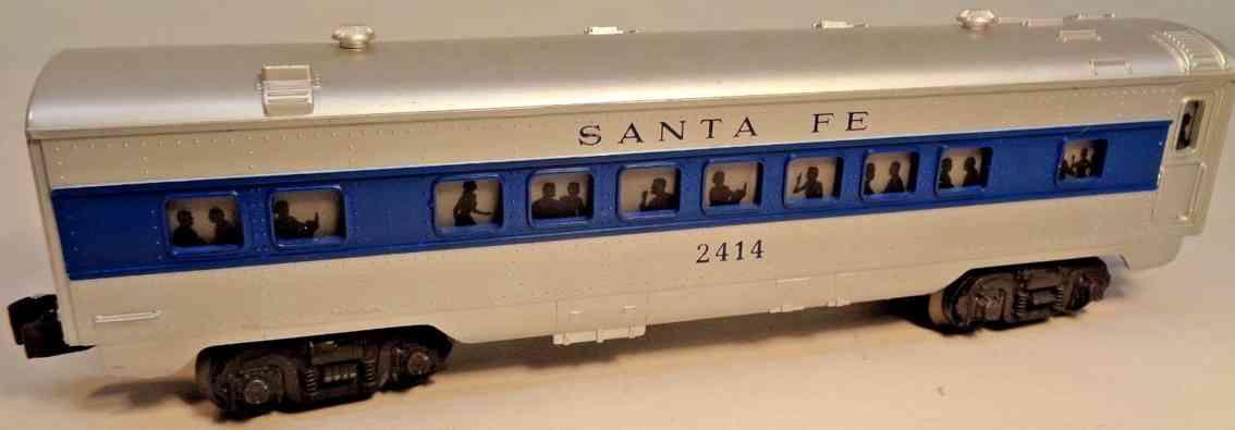 lionel 2414 spielzeug eisenbahn santa fe schlafwagen silver blau spur 0