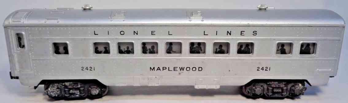 lionel 2421 railway toy passenger car maplewood passenger car silver gauge 0