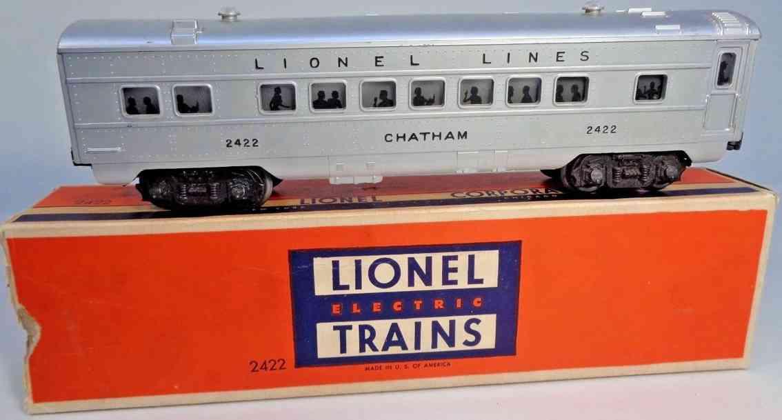 lionel 2422 spielzeug eisenbahn personenwagen chatham silbern grau spur 0 027