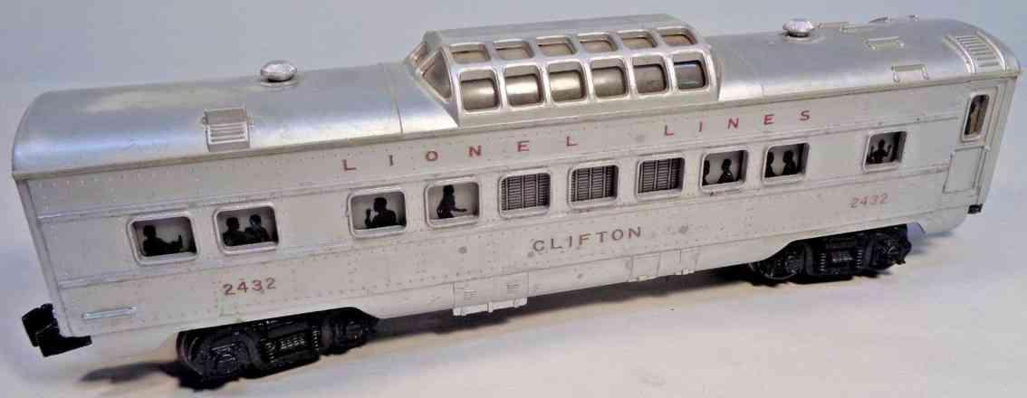 lionel 2432 spielzeug eisenbahn clifton personenwagen silbern spur 0