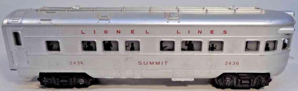 lionel 2436 spielzeug eisenbahn aussichtswagen silbern summit gauge 0