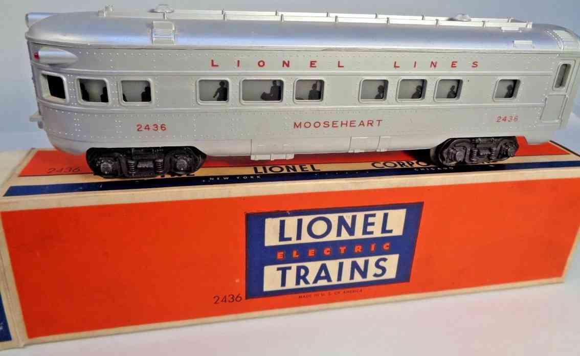 lionel 2436 spielzeug eisenbahn aussichtswagen silbern mooseheart gauge 0