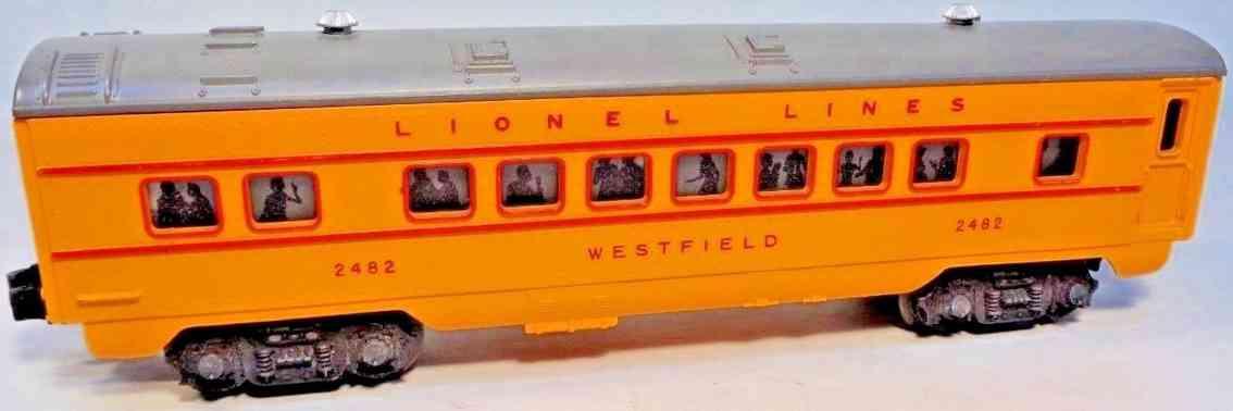 lionel 2482 spielzeug eisenbahn westfield schlafwagen orange grau spur 0