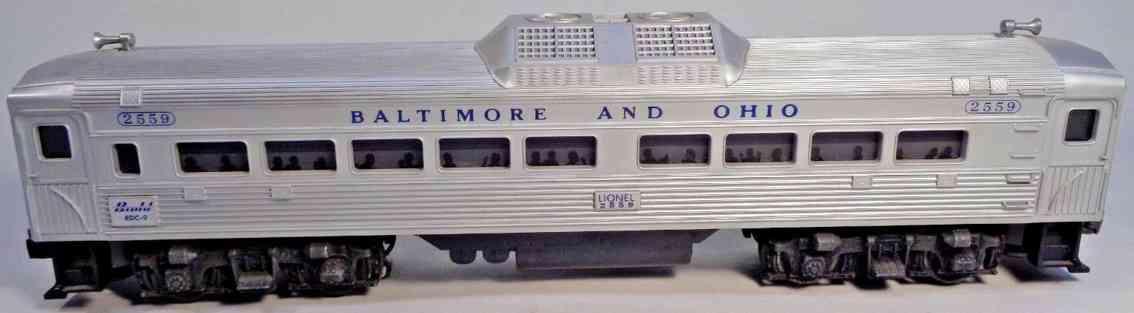 lionel 2559 railway toy passenger car silver baltimore ohio plastic gauge 0
