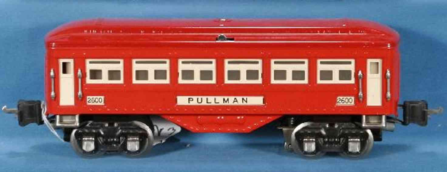 lionel 2600/I spielzeug eisenbahn personenwagen schlafwagen; 4-achsig; in hellrot mit vernickelten highlight