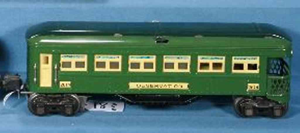 lionel 2614/III spielzeug eisenbahn personenwagen aussichtswagen mit grünem gehäuse und zweifarbigem grünem un