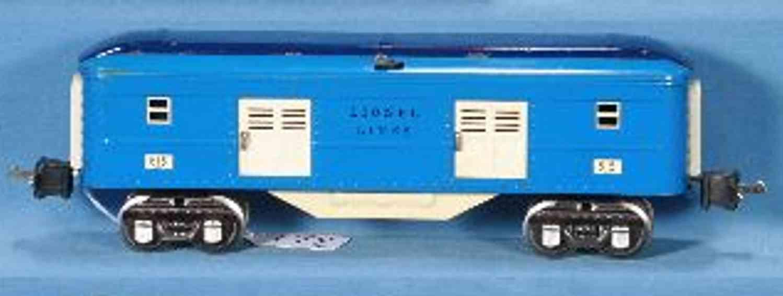 lionel 2615/I spielzeug eisenbahn personenwagen gepäckwagen in blau und zweifarbigem dach, geländer in blau,