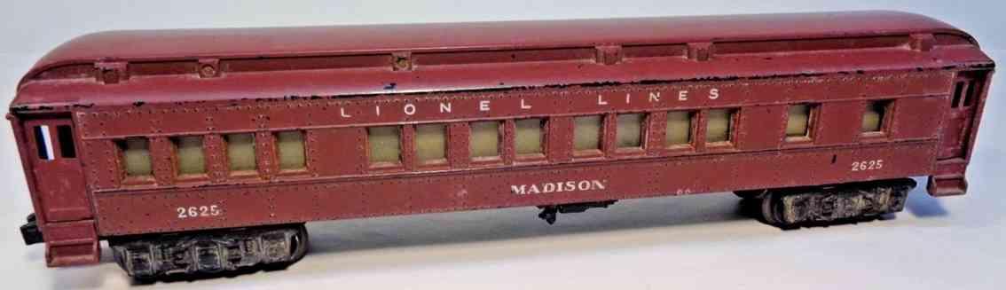 lionel 2625 1947 spielzeug eisenbahn schlafwagen braun spur 0