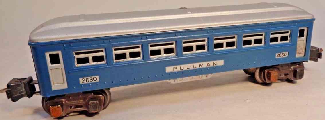 lionel 2630 railway toy passenger car blue aluminum siver gauge 0