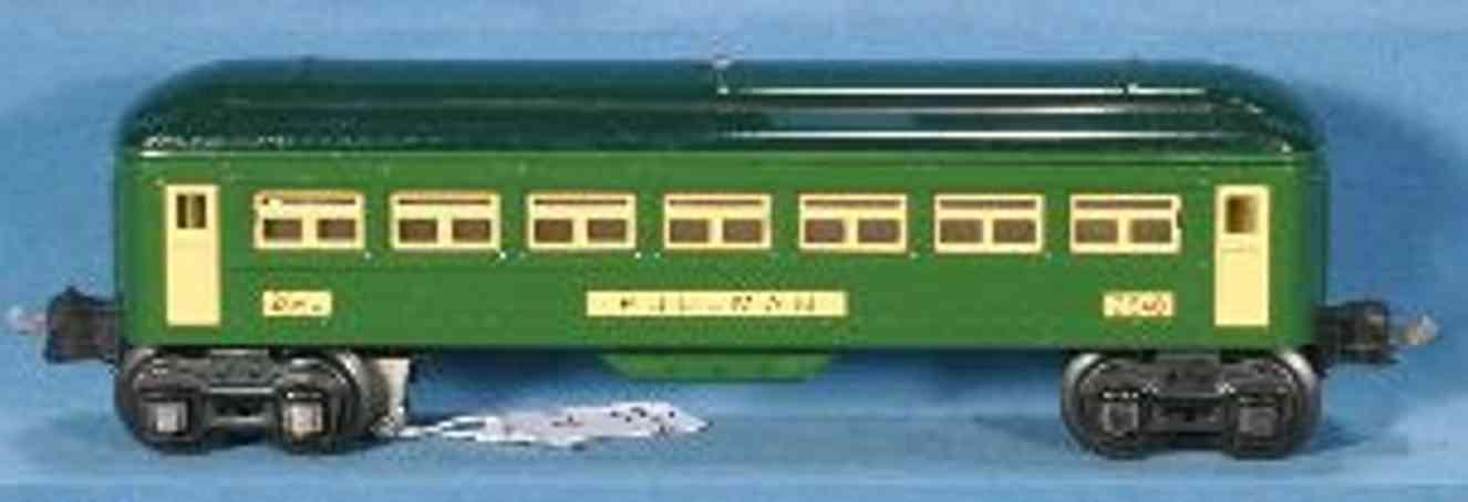 lionel 2640 (type II) spielzeug eisenbahn personenwagen schlafwagen #2640.2; 4-achsig; aus blech, mit grünem gehäuse