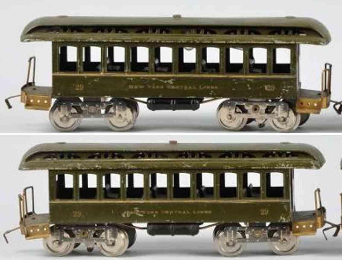 lionel 29 spielzeug eisenbahn personenwagen dark olive standard gauge