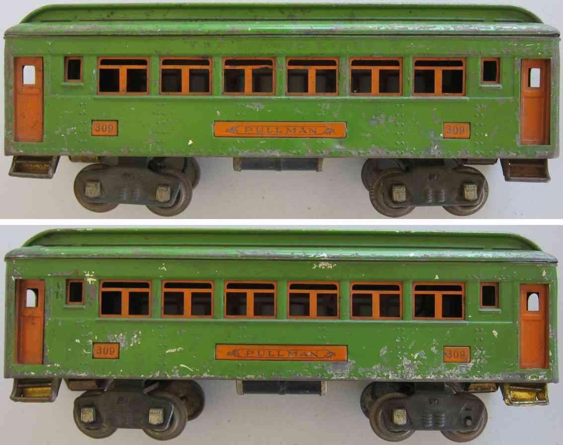 lionel 309spielzeug eisenbahn schlafwagen in erbsengruen und orange standard gauge