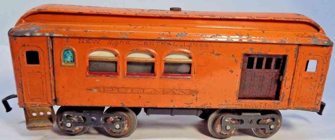 lionel 31  spielzeug eisenbahn gepaeck- und schlafwagen orange standard gauge