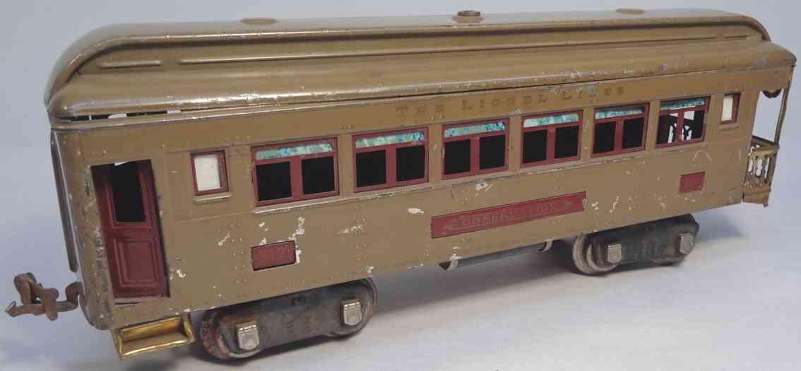 lionel 312 spielzeug eisenbahn aussichtswagen in sandfarben braun standard gauge