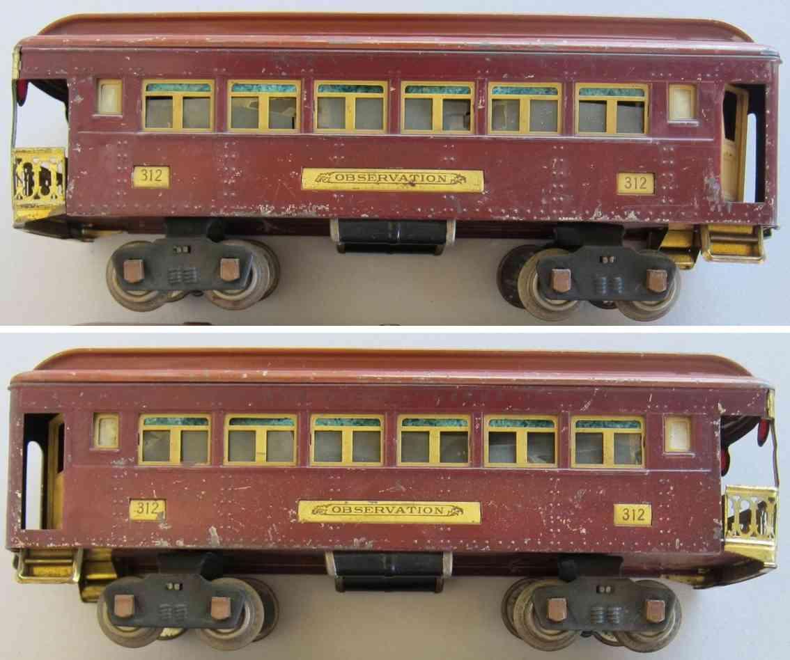 lionel 312 spielzeug eisenbahn aussichtswagen in terrakottafarben und hellbraun standard gauge