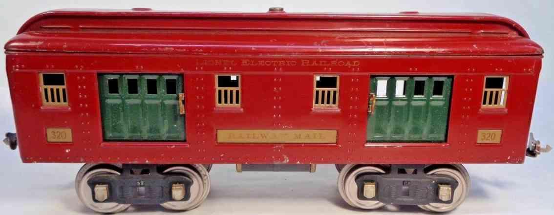 lionel 320 railway toy baggage mail car maroon mojave standard gauge