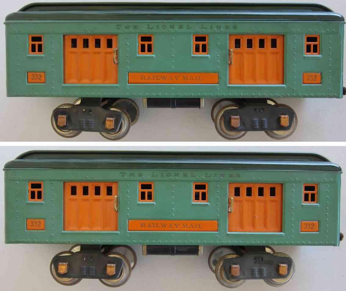 lionel 332 messing eisenbahn personenwagen in erbensenbgruen standard gauge