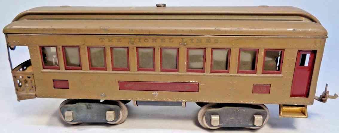 lionel 338 spielzeug eisenbahn aussichtswagen sandfarben braun standard gauge
