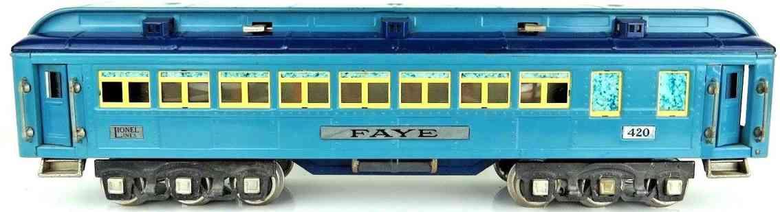 lionel 420 blue comet faye eisenbahn personenwagen blau vernickelt standard gauge