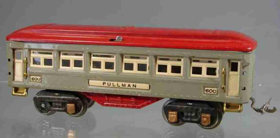 lionel 600 railway toy passenger car pullmann gray red gauge 0