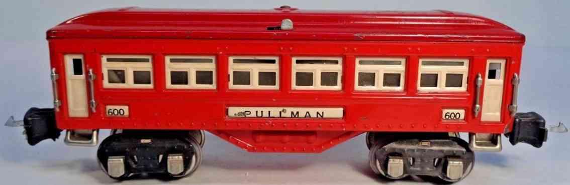 lionel 600 railway toy passenger car pullmann red box couplers gauge 0